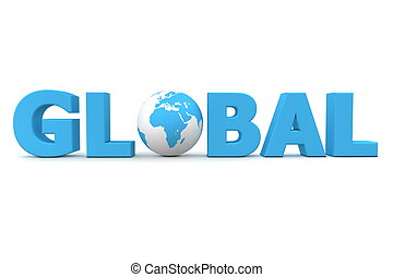 Global World - blue word Global with 3D globe replacing...