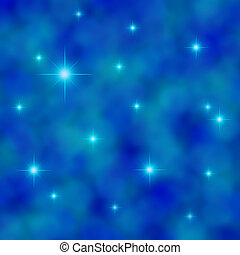 Stars twinkling in a cloudy blue sky - Illustration of stars...
