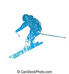 Vector downhill skier