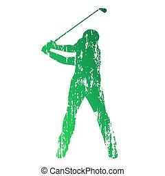 Golf player. Grunge