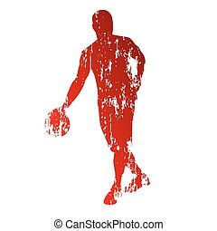 Vectors Illustration of Basketball Player Rebounding Ball Shield ...