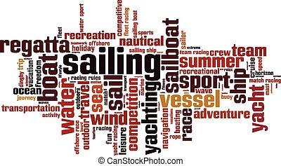 Sailing word cloud concept Vector illustration