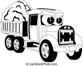 Cartoon lorry car - Black and white illustration of a...