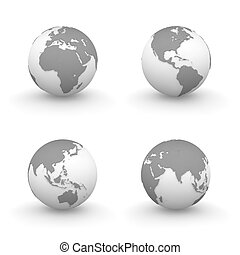 3D Globes in Grey - four views of grey 3D globes -...