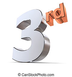 Shiny 3rd - Chrome and Bronze - shiny 3d number 3rd made of...