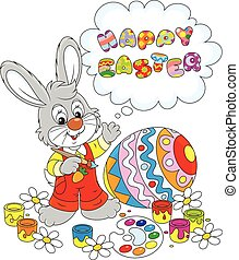 Easter Bunny - Little rabbit and a colorfully painted Easter...