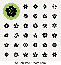 Set of Flower iconsIllustration eps10