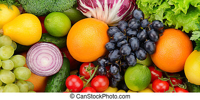 set fruit and vegetable background...