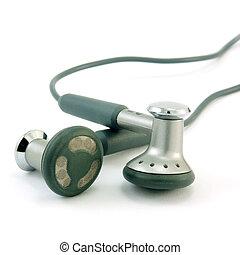 Headphones isolated on a white - Dark gray headphones...