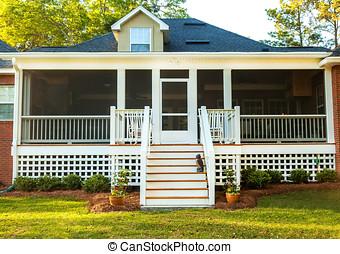Screened Backyard Deck - Screened backyard deck at...