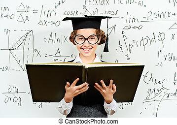 mathematics - Pretty smart schoolgirl in big glasses and...
