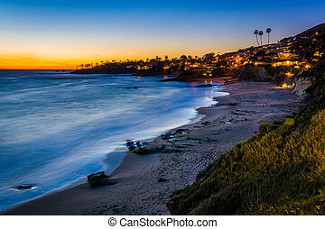 After-sunset view from cliffs at Heisler Park, in Laguna...