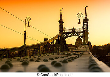 Liberty Bridge - Budapest, Hungary - Sunset at Liberty...