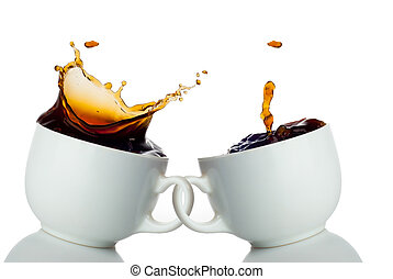 two cups of coffee creating splashes Love symbol