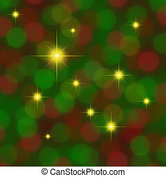 Red and green blurred background with gold stars twinkling -...