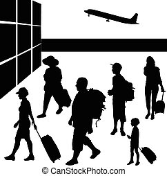 Silhouettes of people with baggage going to travel by...