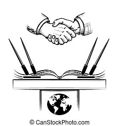 The Diplomacy - Handshake above political or commercial...
