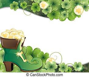 Leprechaun shoe, clover and gold co - Leprechaun shoe on...