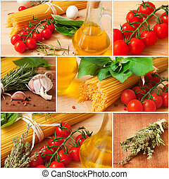 Traditional ingredients of the italian cuisine
