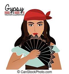 Gipsy design, vector illustration. - Gipsy design over white...