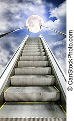 The escalator is moving up to the starry sky with a moon -...