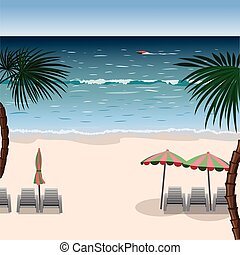 Landscape of a beach with white sand, sea, umbrellas, loungers and palm trees