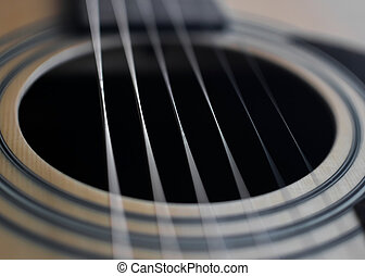 Guitar detail sound hole - Guitar detail closeup of fret,...