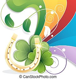 Rainbow and gold horseshoe on white background. St....