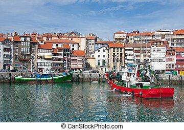 Ships in Lekeitio, Bizkaia Spain