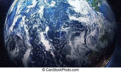 zoom into earth from space - Zoom in from space down to a...