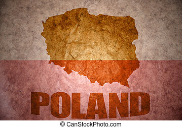 vintage poland map - poland map on a vintage polish flag...