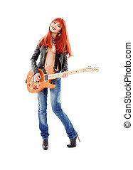 guitar babe - picture of lovely redhead girl with orange...