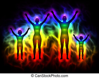 Rainbow silhouette with aura and chakras - family -...