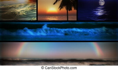 (1127) Beach Ocean Surf and Sunsets Looping Composition