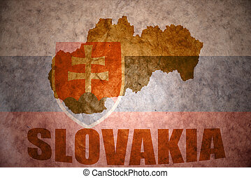 vintage slovakia map - slovakia map on a vintage slovak flag...