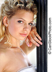 Beautiful young adult blond woman
