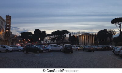 Roman square at dusk - Time lapse Mouth of truth square at...