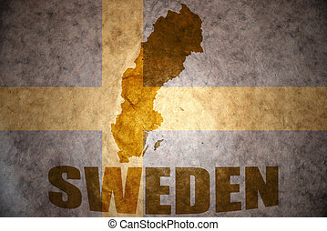 vintage sweden map - sweden map on a vintage swedish flag...