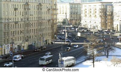 Traffic jam in Moscow, Russia