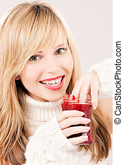 happy teenage girl with raspberry jam - picture of happy...