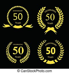 fifty years anniversary signs laurel gold wreath set - fifty...