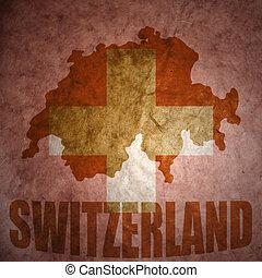 vintage switzerland map - switzerland map on a vintage swiss...