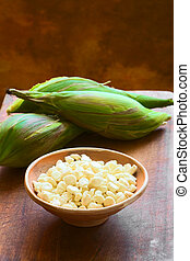 White Corn Called Choclo Peruvian or Cuzco Corn - Kernels of...