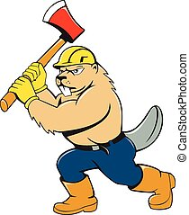 Beaver Lumberjack Wielding Ax Cartoon - Illustration of a...
