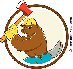 Beaver Lumberjack Wielding Ax Circle Cartoon - Illustration...