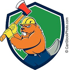 Beaver Lumberjack Wielding Ax Shield Cartoon - Illustration...