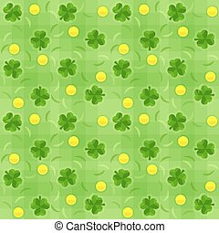 Saint patricks day seamless background with shamrocks and gold coins
