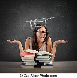 estudante, chega, em, graduação,