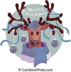 Reindeer in scarf