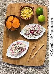 Peruvian Ceviche - Overhead shot of Peruvian ceviche raw...